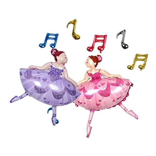 PiniceCore Caliente bailarín de la Bailarina Hoja hincha Sparkles Globos de Helio de Ballet para el Partido de la Muchacha Suministros Feliz cumpleaños de la decoración de Color Rosa