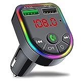 Ghopy FM Transmetteur Bluetooth Voiture Chargeur Allume Cigare Charger Appel Mains Libres Lecteur MP3 Adaptateur Radio sans Fil Kit FM Émetteur Double Support Carte SD Clé USB (#6)