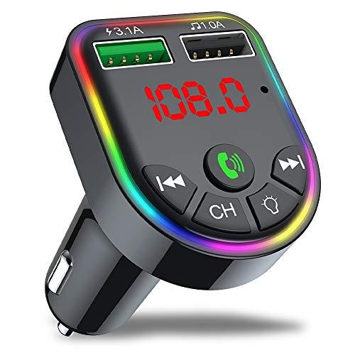 Ghopy - Transmisor FM Bluetooth para coche, cargador de mechero de coche, manos libres, reproductor de MP3, adaptador de radio inalámbrico, kit FM, doble soporte para tarjeta SD, memoria USB (#6)