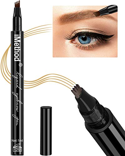 Eyebrow Tattoo Pen - iMethod Microblading Eyebrow Pencil with a Micro-Fork Tip Applicator Creates Natural Looking Brows Effortlessly and Stays on All Day, Light Brown