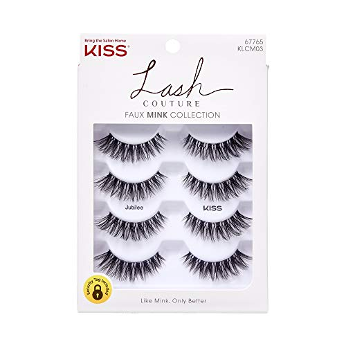 KISS Lash Couture Künstliche Wimpern Faux Mink Collection mit Kleber 96751 -Jubilee