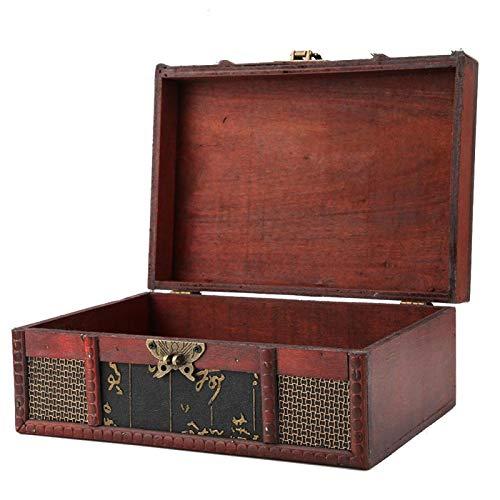 Viccilley Boîte à Bijoux Antique Vintage Classique, boîte de Rangement élégante et délicate en Bois de Style rétro Chinois avec Impression en Cuir et Boucle pour Le Rangement