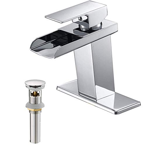 BWE Bathroom Sink Faucet Chrome Waterfall Bundle Pop Up Drain with Overflow