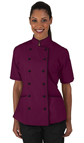 Women's Wine Chef Coat with Piping (XS-3X) (Medium)