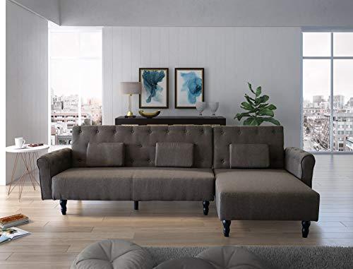 Comfort Hoekbank Chaise Longue Chester 267cm, ombouwbaar in bed, omkeerbaar, bruin.