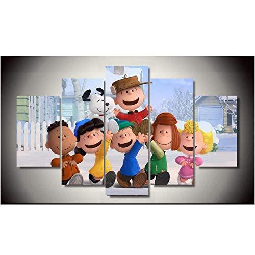 Bilder Dekor eingerahmt The Peanuts Gang 5 Stück Gemälde Wandkunst Kinderzimmer Dekor Leinwand - 30x40cmx2 30x60cmx2 30x80cmx1