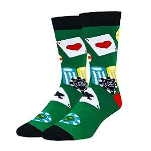 Zmart Men's Poker Chips Socks Funny Gambling Casino Cotton Crew Socks in Green Gift by