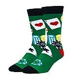 Zmart Men's Poker Chips Socks Funny Gambling Casino Cotton Crew Socks in Green Gift