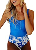 Ecrocoo Tankini Swimsuits for Women Bathing Suits Scoop Neck Sleeveless Buttons Crop Top Floral High Waist Bottoms Bathing Suit Swimwear,Blue L