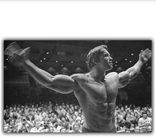 """Surfilterdruck auf Leinwand Arnold Schwarzenegger Bodybuilding Motivationskunst Seidenplakatdruck Fitness Inspirierendes Bild für Raumwanddekor 27.5& rdquo; x 39,4""""(70x100cm) Kein Rahmen"""