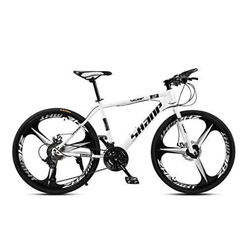 EAHKGmh 26 inch Mountain Bike Speed Steel Frame 3-Spoke Wheels Dual Suspension Folding Bikes for Adults Teens (Color : White, Size : 21 Speed)