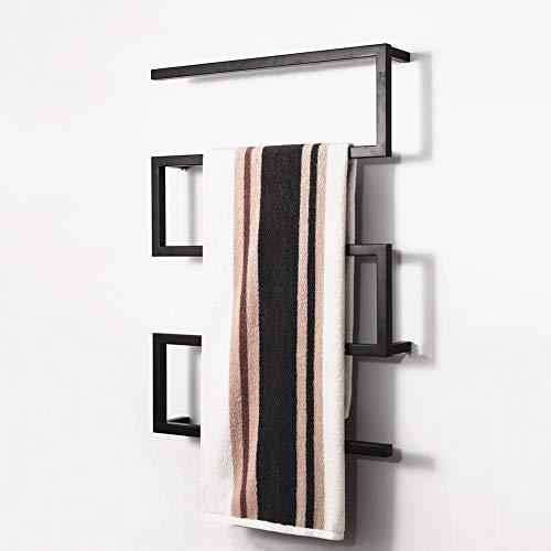 ASDUN Verchromt Handtuchtrockner,Zeitgenössische Mode Elektrischer Handtuchhalter,Heizkörper für Wandmontage Rostfreier Stahl Fürs Badezimmer,900 * 650mm-65W(Schwarz)