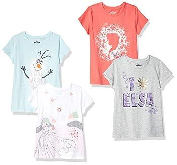 Spotted Zebra Girls  Kids Disney Star Wars Marvel Princess Short-Sleeve T-Shirts 4-Pack Frozen Elsa & Olaf X-Small