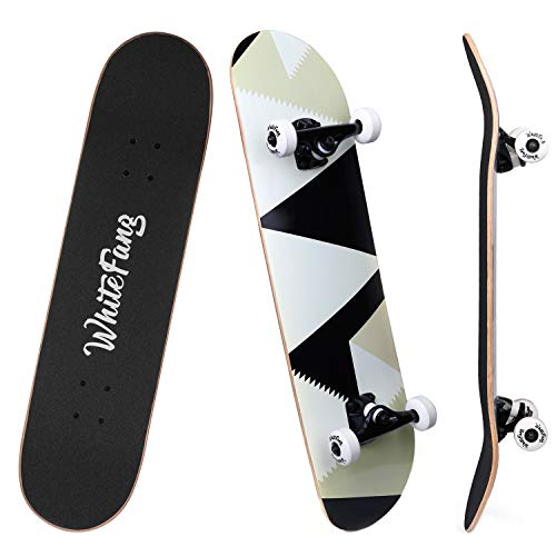 WhiteFang Skateboards for Beginners, Complete Skateboard 31 x 7.88, 7 Layer Canadian Maple Double Kick Concave Standard and Tricks Skateboards for Kids and Beginners (Peak)