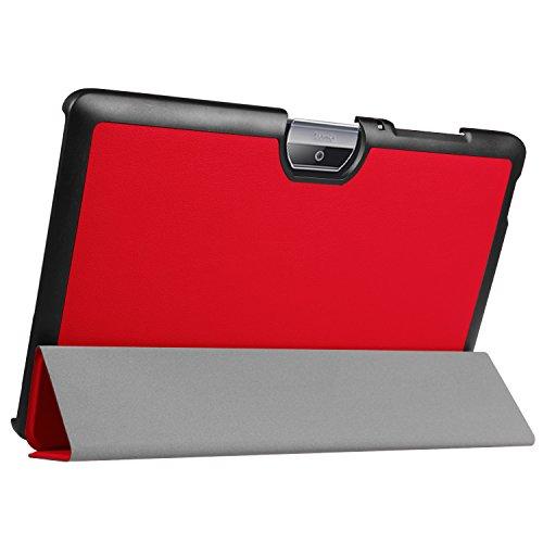 Kepuch Custer Hülle für Acer Iconia One 10 B3-A30 A3-A40,Smart PU-Leder Hüllen Schutzhülle Tasche Hülle Cover für Acer Iconia One 10 B3-A30 A3-A40 - Rot
