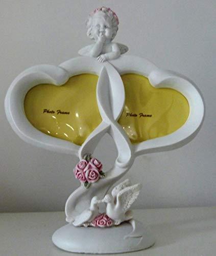 Féeries et merveilles Figurine Ange, Cadre Ange en Forme DE Coeur pour 2 Photos (HT 21 X 18.5 cm), Statuette Ange