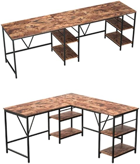 L Shaped ついに入荷 Desk Home Office Corner 59 Storage with 高品質 Shelves 2