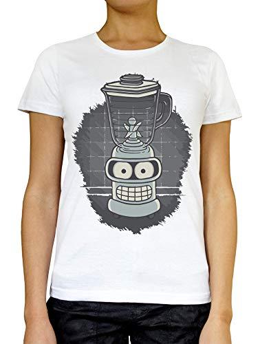 RaMedia Blender in Progress Dames T-shirt Wit Grijs Zwart