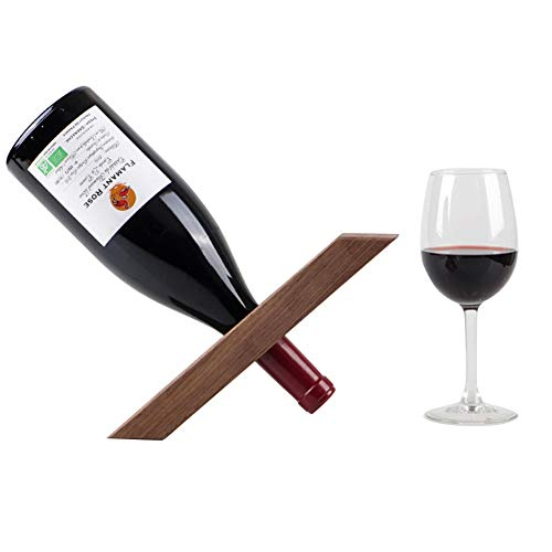 Madera Botelleros Vino Soporte para Botella Individual Diseño Equilibrio La Botella de Vino Mágico Soporte Forma Simple y Creativo con 35 Mm Diámetro de TaladroWalnut wood
