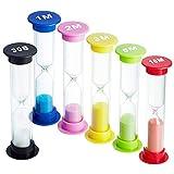 XCOZU 6 Pezzi Timer a Clessidra, Timer di Sabbia 30 Sec/ 1 Minuto / 2 Minuti / 3 Minuti / 5 Minuti / 10 Minuti, Orologi a Clessidra, Timer per Spazzolini da Bambini, Timer da cucina