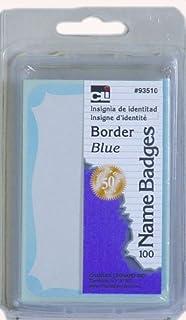 Charles Leonard Labels 93510 Lot de 100 badges nominatifs avec bordure Bleu 7,6 x 5,7 cm
