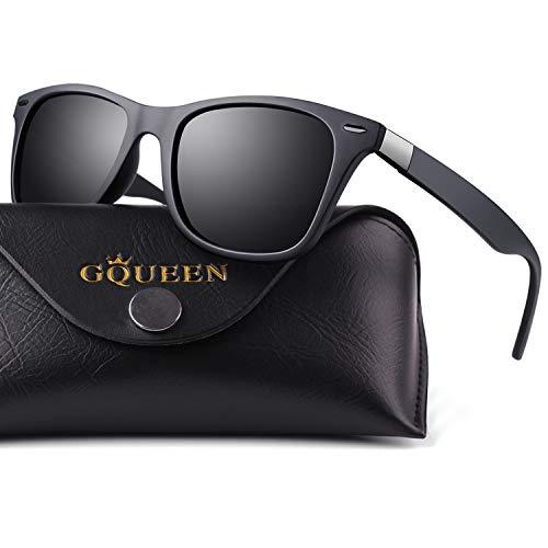 GQUEEN Gafas De Sol Ligeras Polarizadas Rectangulares TR90 Para Hombres con 100% Protección UV MO90
