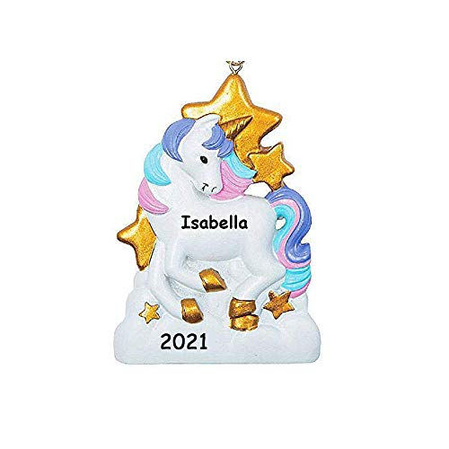 Personalized White Unicorn with Pink and Purple Hair Mane and Gold Stars Hanging Christmas Tree Ornament with Your Choice of Custom Name and Year