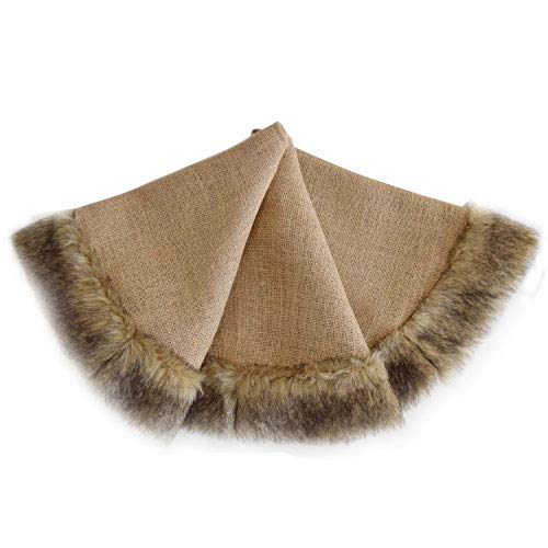 SORRENTO Jute Burlap Christmas Tree Skirt linen with faux fur Border Decoration skirt - 50inch / 10-15 DAYS DELIVERY