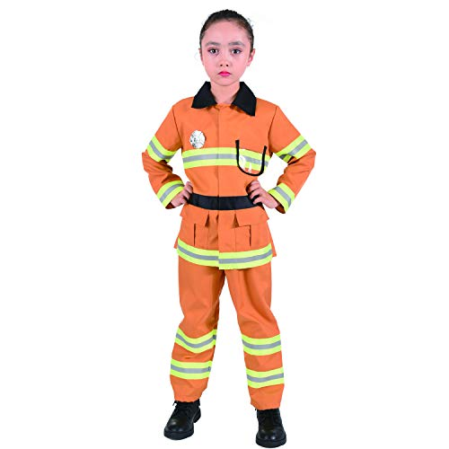 CO-AVE Fireman Costume for Kids Role Play for Boys and Girl,4-8T Tan