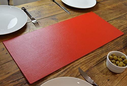 Artisan Red Bonded Lederen Tafelloper Mat, Eetkamer, 60cm x 27cm, Handgemaakt In het Verenigd Koninkrijk