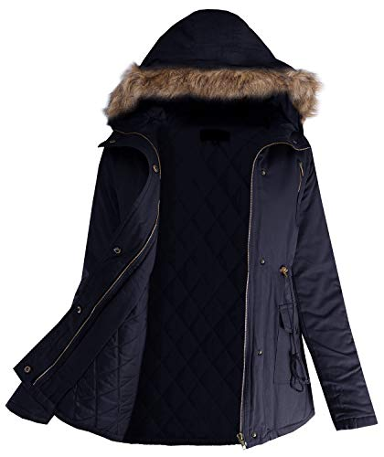 Ladies' Code Faux Fur Hooded Casual Outwear Winter Padding Jacket Junior Size Dark Navy S Size