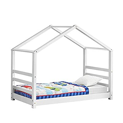 [en.casa] Child´s Bed House Form Bed for Children Pinewood White Matt or Natural Wood Color in Different Sizes