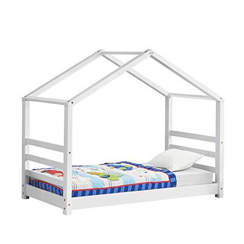 [en.casa] Kinderbett mit Lattenrost Hausbett Weiß 70x140 cm Bettenhaus Bett Jugendbett