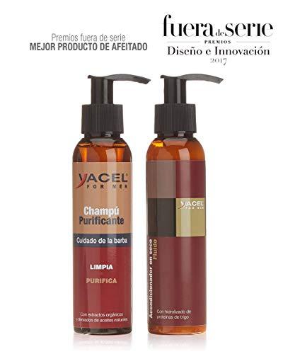 Yacel For Men - Pack Champú Purificante + Acondicionador | Barba más Suave e Hidratada | 95% Ingred. Naturales | Sin Parabenos | Con Aceite de Coco, Almendra y Creatina | Rápida Absorción - 25