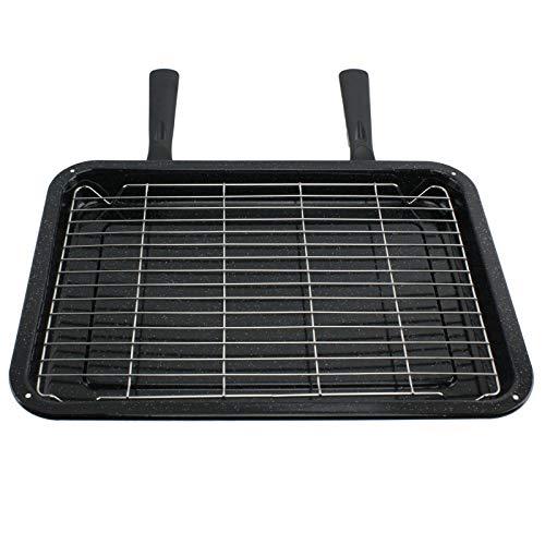 SPARES2GO Medium Grill Pan, Rack & Dual Afneembare Handgrepen voor IKEA Oven Cookers (415mm x 290mm)