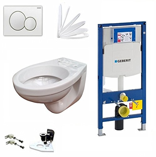 Geberit Duofix Vorwandelement UP 320, Design WC mit LotusClean Beschichtung, Absenkautomatik, Sigma01 Drückerplatte weiß, WC Deckel