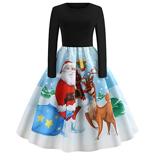 VEMOW Herbst Mode Elegant Damen Abendkleid Frauen V-Ausschnitt Bänder Frohe Weihnachten...