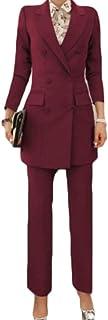 chenshiba-JP ズボンのスーツセット2ピースの衣装と女性の長袖ソリッドブレザー