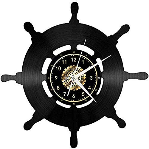 AGGG Sailing Travel Series Steering Wheel Navigator Landscape Vinyl Record Wall Clock Creative Retro LED Lighting Vinyl Record Wall Clock Living Room