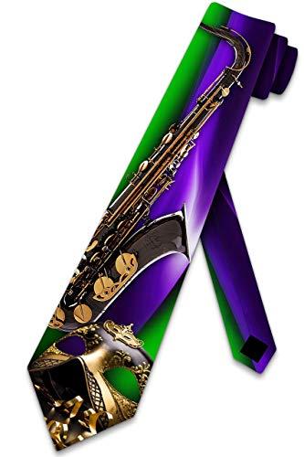 LREFON Music Ties - Corbata para saxofón y máscara de Mardi Gras para hombre