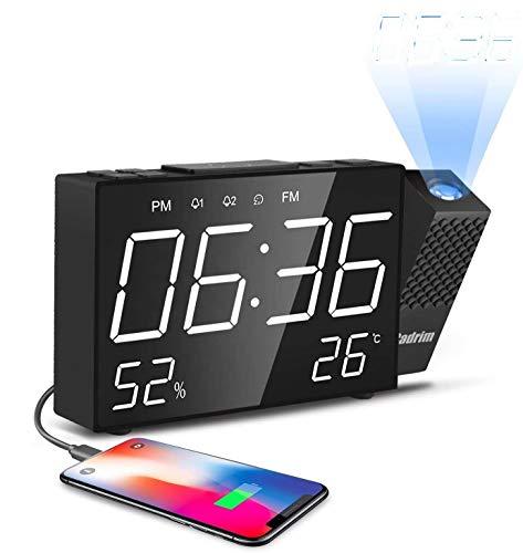 Cadrim Projection Alarm Clock With Big Snooze Button - Adjustable...