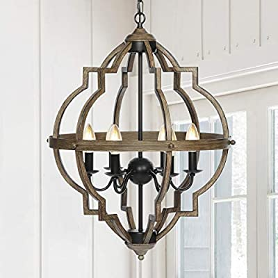 KingSo Pendant Light 6 Light Rustic Metal Chandelier 27.5'' Oil Rubbed Bronze Finish Wood Texture Industrial Ceiling Hanging Light Fixture for Indoor Kitchen Island Dining Living Room Farmhouse