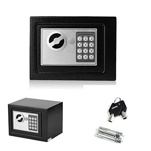 YLLN 8.5L Acero Fuerte Negro con Clave Contraseña Seguridad A Prueba de manipulaciones Alta Seguridad Dinero Efectivo Caja Fuerte Oficina Casa, 31 (L) x20 (D) x20 (H) cm Negro
