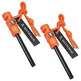 Extremus 6-in-1 Magnesium Fire Starter with Striker, High Temp Magnesium Rod, 2 Pack Set, Orange