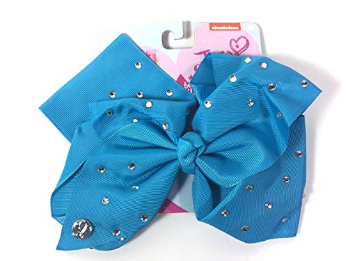 JoJo Siwa Large Cheer Hair Bow (Turquoise w/Clear Rhinestone)
