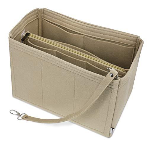 Navaris Taschenorganizer Filz Organizer für Handtaschen - 24,8 x 18,7 x 14,9 cm Organisator für Tasche - Zubehör für Handtasche Rucksack - Beige