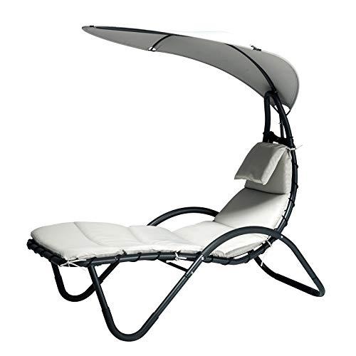 Outsunny Gartenliege Sonnenliege Polsterliege Relaxliege mit Kissen und Sonnendach ergonomisch wetterbeständig Stahl + Textilene Schwarz + Weiß 181 x 127 x 177 cm