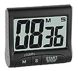 TFA Dostmann Digitaler Timer und Stoppuhr, 38.2021.01, elektronisch, mit Display, große Ziffern, schwarz, L87 x B32 x H103 mm