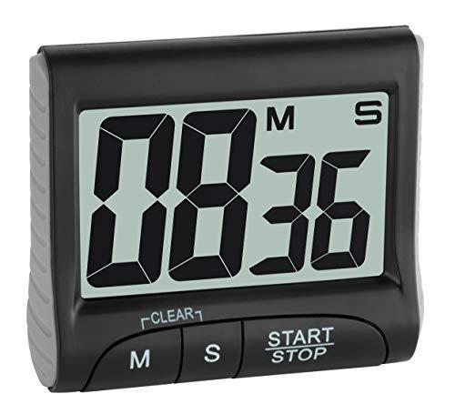 TFA Dostmann digitale timer en stopwatch, 38.2021.01, elektronisch, met display, grote cijfers, zwart, (L) 83 x (B) 28 (45) x (H) 70 mm0
