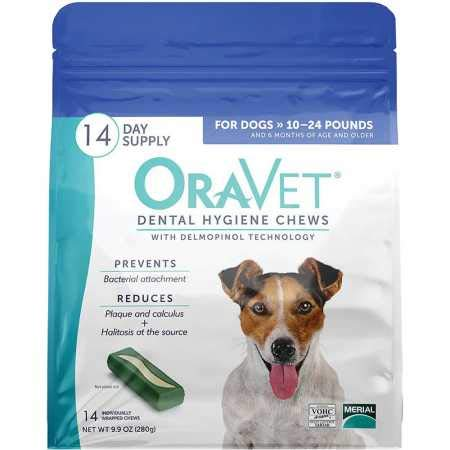 Merial Oravet Dental Hygiene Chew for Small Dogs (10-24 lbs), Dental Treats for Dogs, 14 Count